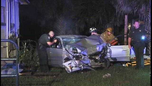 A teenager is in critical condition after allegedly slamming a stolen car into a home in Brevard County.