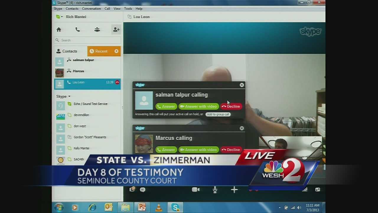 In pehaps the weirdest moment so far in the George Zimmerman trial, a witness who attempted to give his testimony over Skype was interrupted by people who saw the witness's name and bombarded him with calls. The court abandoned Skype and talked to him on the phone instead.