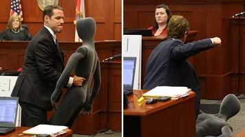 9. The mannequin steals the showState attorney John Guy pulled out a gray mannequin to question defense witness Dennis Root about how the fatal shot might have been fired. Not to be outdone, defense attorney Mark O'Mara grabbed Guy's mannequin and used it for his own demonstration.
