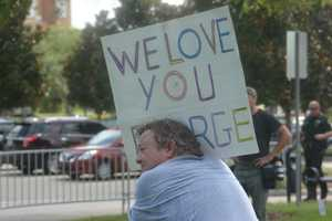Demonstrators gathered outside the Seminole County Courthouse on Saturday awaiting a verdict in the trial of George Zimmerman.