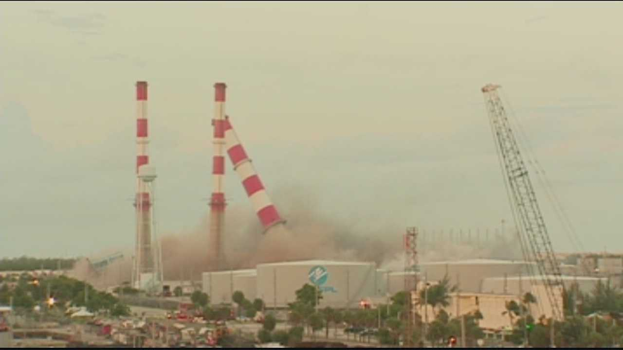 Florida Power & Light's Port Everglades plant was reduced to rubble Tuesday morning, and it was all caught on video.