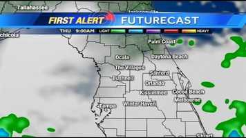 See an hour-by-hour timeline of rain expected in Central Florida on Thursday.