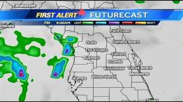 See an hour-by-hour timeline of rain expected in Central Florida on Friday.