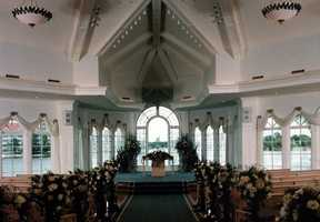 Disney's Wedding Pavilion can seat up to 300 guests and has an aisle that stretches 75 feet.