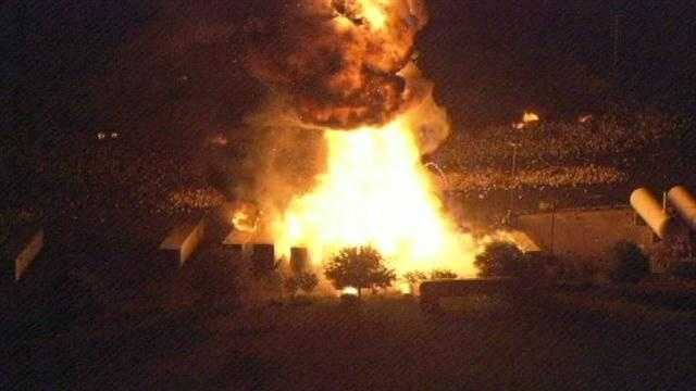 Fire engulfed several trucks at a propane tank plant in Tavares, Fla., on Monday night.