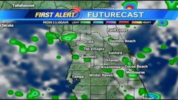 See an hour-by-hour timeline of rain expected in Central Florida on Monday.