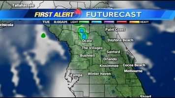 See an hour-by-hour timeline of rain expected in Central Florida on Tuesday.