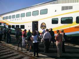 On Monday, officials showed off the first SunRail train car that will be part of the regional rail system debuting next Spring.
