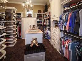 The master suite also includes a custom closet with space for 200 pairs of shoes.