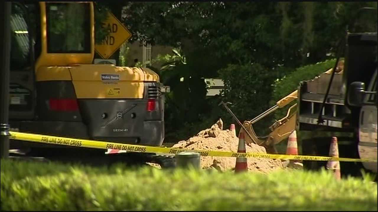 Crews are working to repair a gas line that ruptured after being hit on Tuesday.