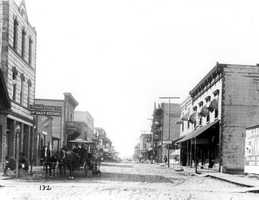 A look west down Pine Street in 1882.