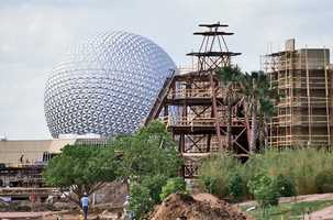 This picture from April 1982 shows the Mexico pavilion being built. The park was opened six months later.