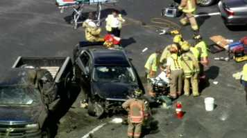 Rescuers rushed to the scene of a crash Thursday afternoon when a car careened off Interstate 4 and smashed into parked cars.