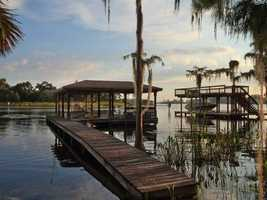 Expansive dock and boathouse.