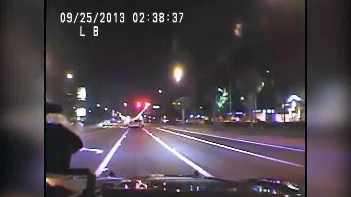 Dashcam video released by Florida Highway Patrol shows a crash and a car careen out of control after a pursuit. Troopers said a man fled during a DUI stop and crashed into another car in Orange County.
