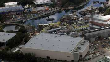 See an aerial view of the construction progress at the Wizarding World of Harry Potter expansion at Universal Orlando Resort taken on Oct. 1, 2013.