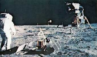 "The ""tranquility base"" on the moon's surface.  Photograph taken in 1969."