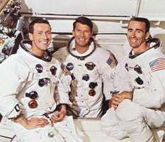 "The crew of the Apollo 7 flight.  From left to right:  Donn F. Eisele, Walter M. ""Wally"" Schirra, Jr, and Walter Cunningham.  Photograph taken in 1968."