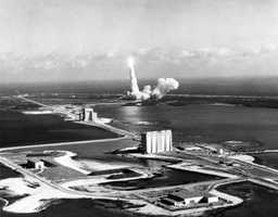 An aerial view of the Titan III launch.  Photograph taken in 1965.