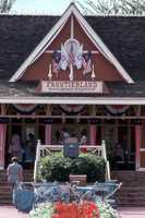 1975: The Frontierland Railroad Station.  Who remembers those blue strollers?