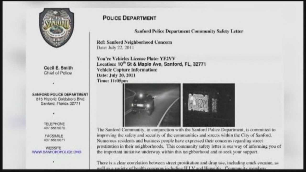 Police in Sanford are planning to attack a prostitution problem with a letter-writing campaign.