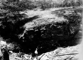 A sinkhole near Lloyd, which receives water from Miccosukee Drain in 1932.
