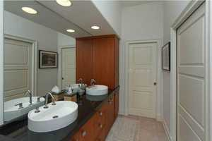 Dual vanities in the second bathroom.