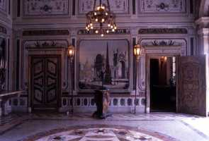 One of the main rooms inside of the mansion. Photograph taken after 1970.
