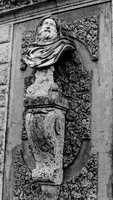 A sculpture on the side of the mansion. Photograph taken in 1986.