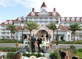 The resort, which takes cues from the golden age of the Victorian era, sits alongside the shores of Seven Seas Lagoon.