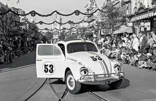 Herbie the Love Bug was also a part of the parade.  You don't see the car in many parades anymore.