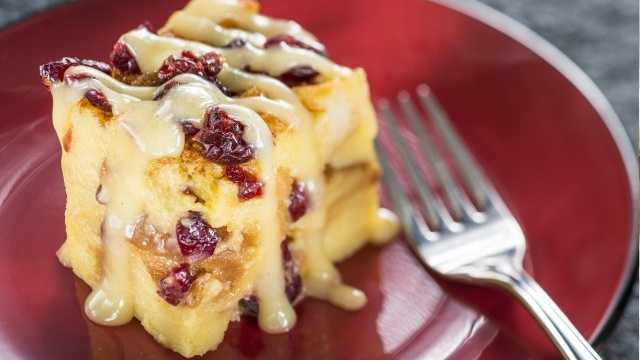 Craisin Bread Pudding with Grand Marnier Anglaise from the Hops & Barley Marketplace, one of the this year's dessert picks.