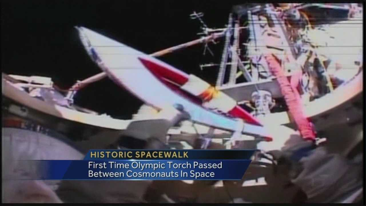 Olympic torch travels out of International Space Station