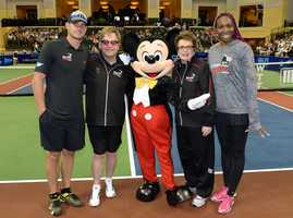 Legendary singer Sir Elton John, tennis legend Billie Jean King and tennis stars Venus Williams and Andy Roddick, at ESPN Wide World of Sports Complex at Walt Disney World Resort. They were all participating in a charity exhibition tennis match at the 230-acre Disney multi-sports complex.