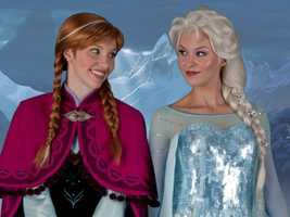 "Anna (left) and Elsa (right) are the two new characters from Disney's newest film ""Frozen"".  Based off of the fairy tale ""The Snow Queen"" by Hans Christian Andersen, Disney puts a fun, new spin on the original fairy tale and includes actors Kristen Bell, Idina Menzel, Josh Gad, and Jonathan Groff.  Click through to view more pictures of Anna and Elsa."