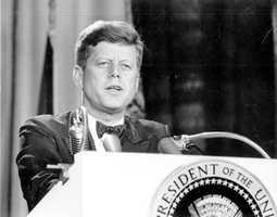 John F. Kennedy speaks before a group on Nov. 18, 1963.