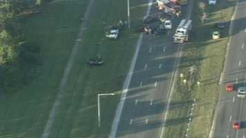 Four people were taken to Orlando Regional Medical Center after a crash mangled several cars on John Young Parkway on Monday afternoon.