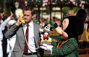Mickey Mouse and Neil Patrick Harris tape a segment for the 2013 Disney Parks Christmas Parade.
