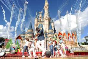Ne-Yo performed in front of Cinderella's Castle on Dec. 6 during a taping for Disney's Christmas Parade.