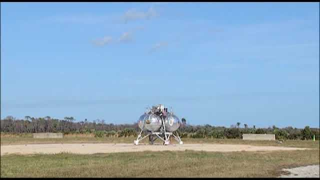 "NASA's prototype spacecraft Morpheus had a successful ""free flight"" on Tuesday. The spacecraft exploded on liftoff during a test flight at Kennedy Space Center last August."