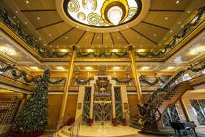 Take a look at the holiday decorations on the reimagined Disney Magic this holiday season.