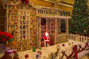 A huge gingerbread house.