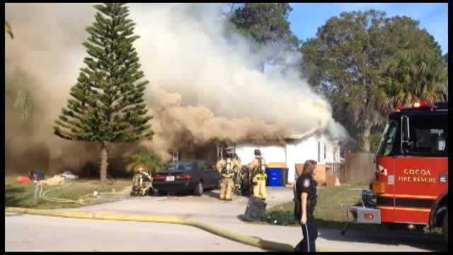 A neighbor captured this video of a fire at a Rockledge home on Bernice Road on Christmas morning.