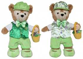 A pre-dressed Duffy Bear will be offered in the spring. One side of his outfit is for St. Patrick's Day, while the other side is a costume for Easter.