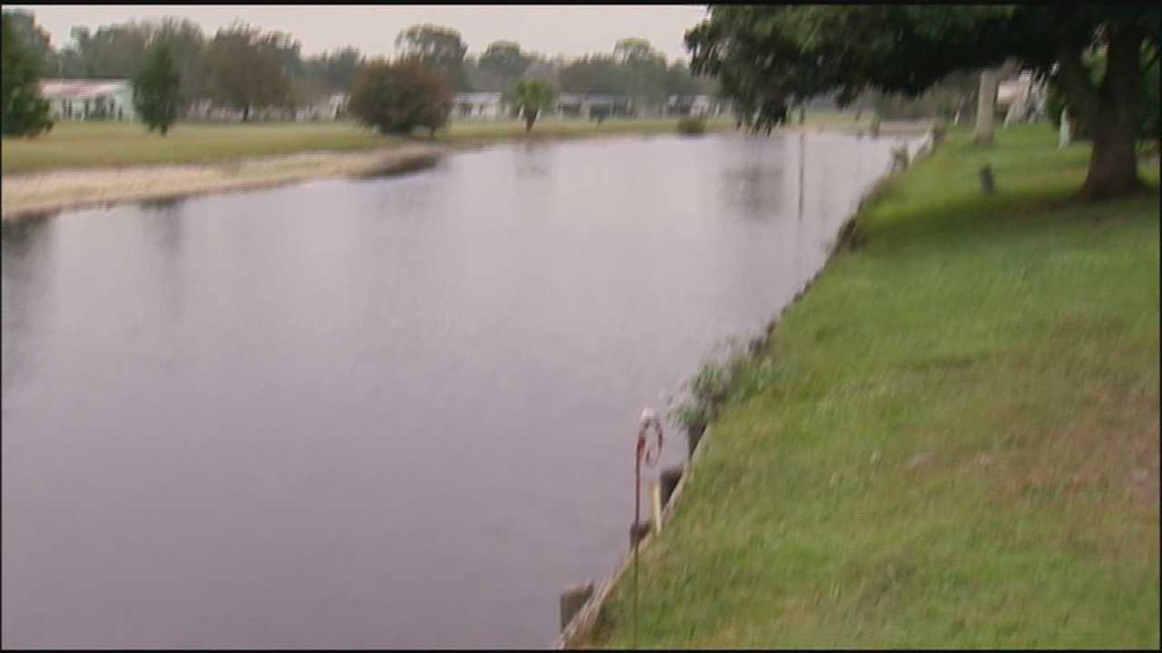 A man found his 70-year-old father face down in a retention pond overnight.