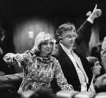 Representative Barry Kutun and Representative Gwen Margolis vote in the 1980 session.