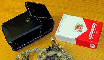 A stun gun disguised as a cigarette pack was seized in August.