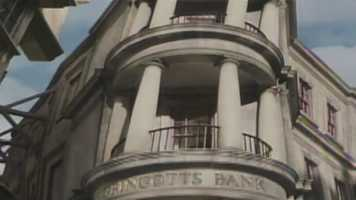 A rendering of the outside of Gringotts Bank.