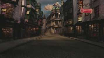 A rendering of Diagon Alley.