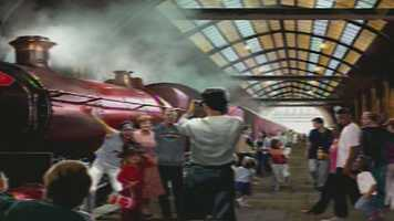 A rendering of the Hogwarts Express station.